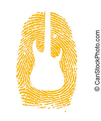 thumbprint with a guitar icon on it illustration design over...