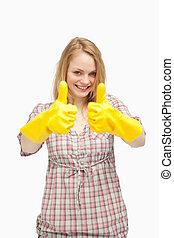 thumbs, в то время как, gloves, уборка, вверх, носить, женщина, молодой