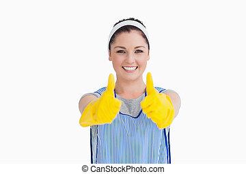 thumbs, желтый, очиститель, вверх, giving, gloves