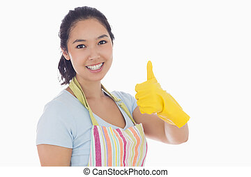thumbs, желтый, gloves, giving, вверх, ластик, женщина