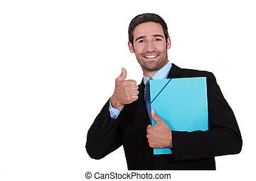 thumb's, abandone, segurando, homem negócios, pasta