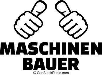 thumbs., alemán, camiseta, mecánico, ingeniero, design.