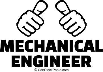 thumbs., camiseta, mecánico, design., ingeniero