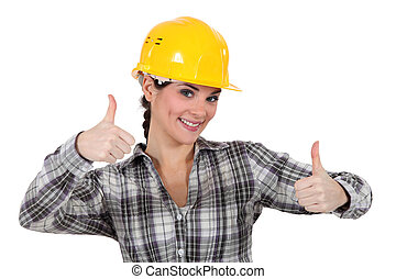 thumb's, dar, dois, cima, tradeswoman, sorrindo
