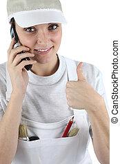 thumb's, dela, falando, móvel, cima, telefone, tradeswoman,...