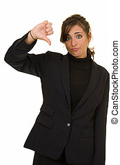 Thumbs down - Attractive brunette woman in professional...