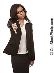 thumbs down from business woman - beautiful woman wearing ...