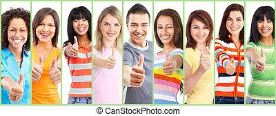thumbs., feliz, grupo, pessoas