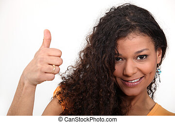 thumb's, femme, bouclé, abandon, cheveux