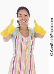 thumbs, gloves, giving, вверх, ластик, женщина, счастливый