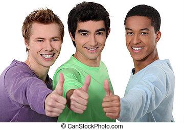 thumb's, groupe, donner, hommes, jeune, haut