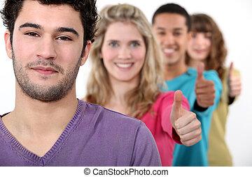 thumb's, grupa, ludzie, udzielanie, młody, do góry