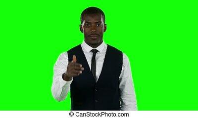 thumbs., homme affaires, projection, vert, écran