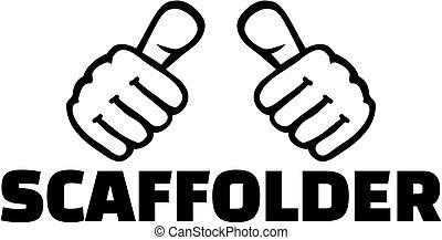 thumbs., scaffolder, t-shirt, design.