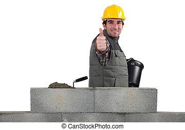 thumbs-up, őt épület, neki, odaad, kőműves, fal