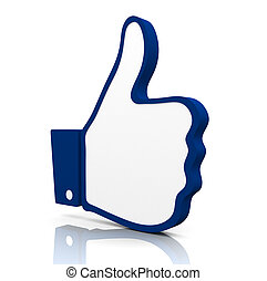 Thumbs up. - 3D Rendered icon of a hand with the thumb up.