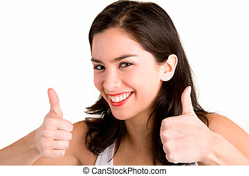Thumbs Up - A beautiful brunette is showing her appreciation...