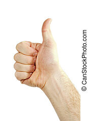 Thumbs Up - A thumbs up sign from a male hand. Isolated on...