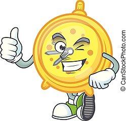 Thumbs up alarm clock cartoon character with mascot