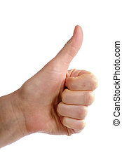 An adult female hand holding their thumb in the air. Seen from the side with clipping path;