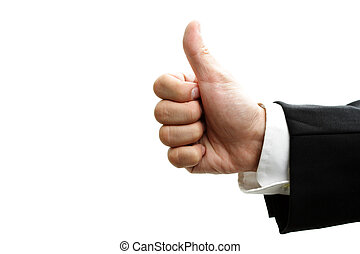Thumbs up - An isolated shot of a businessman with his ...