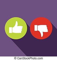 Thumbs up and down icon, flat style