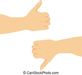 Thumbs Up And Down - Illustration of man hands with positive...