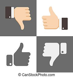 Thumbs up and down, like dislike icons for social network