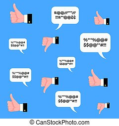 Thumbs up and down. Vector flat cartoon illustration