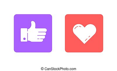 Thumbs up and heart icon on a white background. Social media...