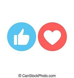 Thumbs up and heart icon on a white background. Vector icon ...