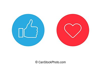 Thumbs up and heart, social media icon, empathetic emoji ...