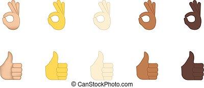 Thumbs up and ok  gesture vector emoji