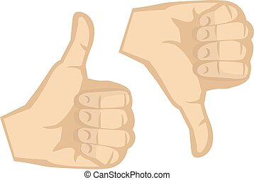 Thumbs Up and Thumbs Down Hand Gestures Vector Illustration...