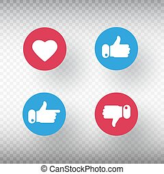 Thumbs up and thumbs down, heart signs set. Like symbol. Social media element. Bright buttons with user feedback for social network, mobile app or web site design. Vector iilustration