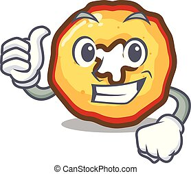 Thumbs up apple chips isolated with the mascot