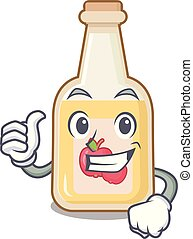 Thumbs up apple cider isolated with the mascot
