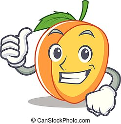 Thumbs up apricot character cartoon style