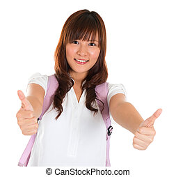 Thumbs up Asian college student
