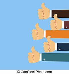 Thumbs up background in flat design style. Vector
