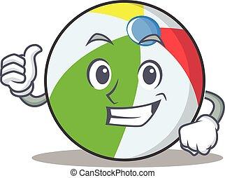 Thumbs up ball character cartoon style