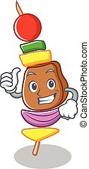 Thumbs up barbecue character cartoon style