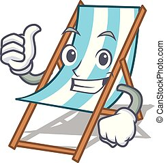 Thumbs up beach chair character cartoon