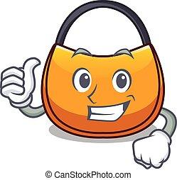Thumbs up beautifully hobo bag on character funny vector...