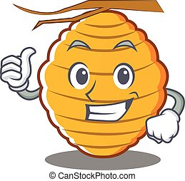 Thumbs up bee hive character cartoon