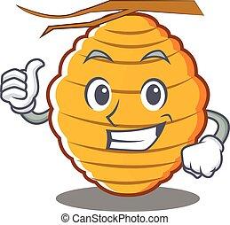 Thumbs up bee hive character cartoon