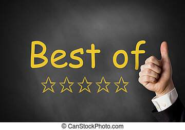 thumbs up best of golden ratings stars black chalkboard -...
