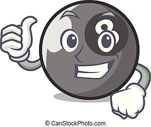 Thumbs up billiard ball character cartoon