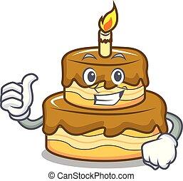 Thumbs up birthday cake character cartoon