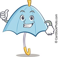 Thumbs up blue umbrella character cartoon